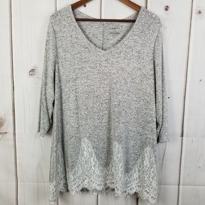NWT Lane Bryant Lace Gray Top Size 18/20
